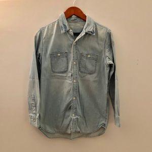 GAP kids chambray denim button down shirt XXL